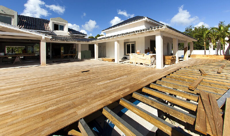 Lay decking boards - freestanding deck- how to build a deck